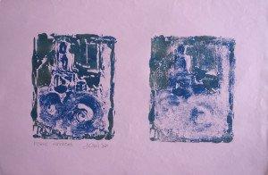 Monotype sur papier peint - Ferme autonome - 40x60